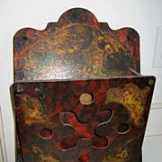 Antique Victorian decorative wood letter holder cherubs
