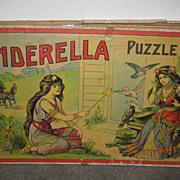 Antique Cinderella Puzzle box set of 3 puzzles Signed Milton Bradley