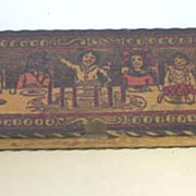 Antique Pyrography wood Flemish Art toy pencil box with children
