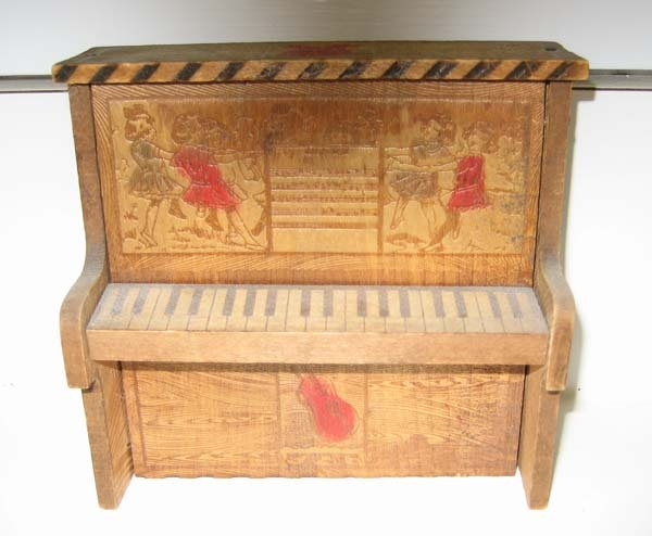 Antique Pyrography wood toy piano candy container