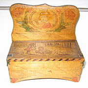 Antique Pyrography wood toy box bench candy container