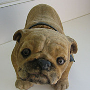Antique small Bulldog nodder toy glass eyes