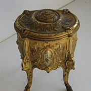 Antique miniature gilt cast metal decorative doll table jewelry casket