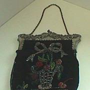 Ladies Black velvet antique beaded bag purse