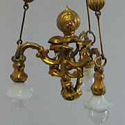 Antique German miniature doll house Erhard & Söhne Ormolu Electric chandelier