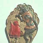 REDUCED Vintage Little Red Riding Hood Antique wall plaque or Christmas tree ornament
