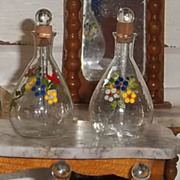 French antique doll miniature enamel floral glass perfume