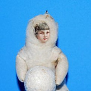 Antique German Christmas Ornaments Cotton batting snow baby