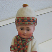REDUCED Antique German child on sled candy container Heubach type
