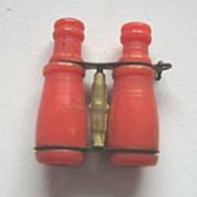 Antique miniature red celluloid Opera Glasses or binoculars
