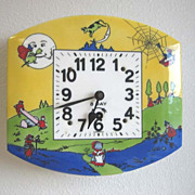 Vintage German Nursery Rhyme enamel clock with pendulum