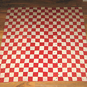 Antique childs or antique doll quilt cotton squares red & white multi pattern