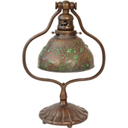 Tiffany Studios Grapevine Pattern Bronze Desk Lamp with Blown Out Bubbles in Glass