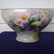 Belleek Handpainted Punch Bowl with Blackberries