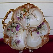 Antique Limoges Handpainted Divided Bowl with Blackberries
