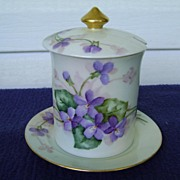 SALE Handpainted Jam Jar with Forget-Me-Not Flowers