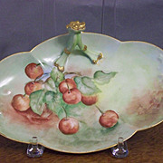 SALE Antique Limoges Finial Handled Candy Tray with Cherries