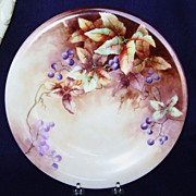 SALE Antique Handpainted Charger Plate with Blueberries