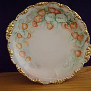 SALE Vintage Limoges Handpainted Charger plate Decorated with Strawberries