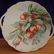 Antique Limoges Handpainted Cake Plate Decorated with Cherries