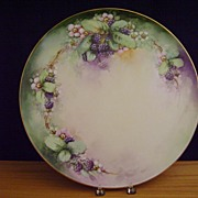 Antique Limoges Handpainted Charger Plate with Blackberries