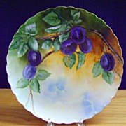 Antique Limoges Handpainted Plate with Plums
