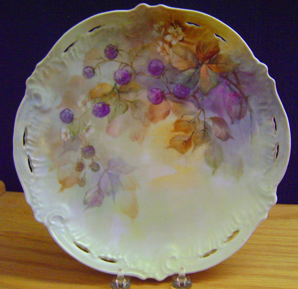 Vintage Handpainted Charger with Berries, Artist signed