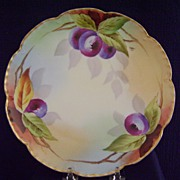 SALE Vintage Limoges Handpainted Plate with Plums, Pitkin and Brooks