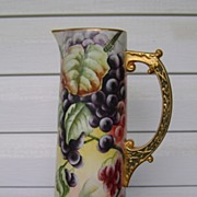 SALE Antique CAC Belleek Handpainted Tankard Pitcher with Grapes