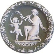 Green Jasperware Wall Plaque With Musical Lady & Dancing Cherub