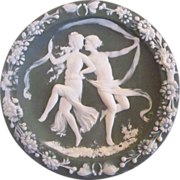 Green Jasperware Wall Plaque With Dancing Lovers Couple