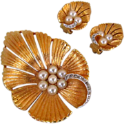 Joseph Mazer Rhinestone & Simulated Pearl Brooch & Earrings Set