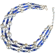 Vintage Cobalt Blue Crystal Bead and Simulated Pearl Necklace