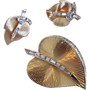 Boucher Gold Tone & Rhinestone Leaf Brooch and Earrings Set