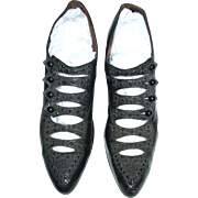 Fabulous Antique Beaded 4 Button Hole Ladies Shoes