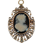 SALE Fine 14K Rose Gold Victorian Cameo brooch / Pendant Absolutely Exquisite