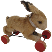 Steiff's Rabbit on Eccentric Wooden Wheels With All IDs