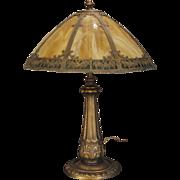 Ornate Dark Amber Obverse Painted Slag Glass Lamp