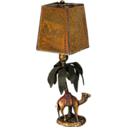 Bronze Camel & Palm Tree Lamp w/ Celluloid Pearline Shade