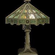 SOLD Large Fabulous Bradley & Hubbard Arts & Crafts 32 Panel Slag Glass Lamp