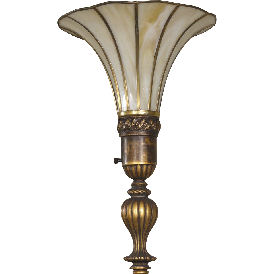 tall morning glory shaped torchere slag glass floor lamp from rubylane. Black Bedroom Furniture Sets. Home Design Ideas