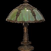 Marvelous Art Nouveau Trellis & Ivy Multi Colored Slag Glass Lamp