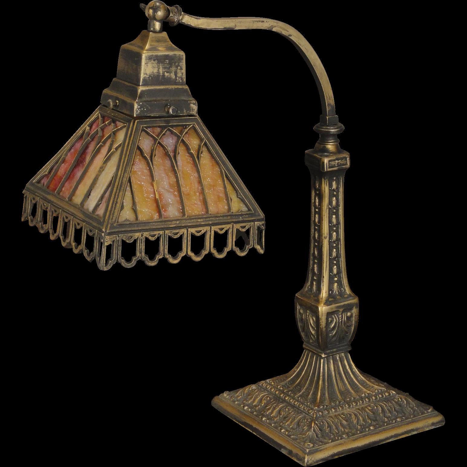 Pittsburgh Gothic Slag Glass Desk Lamp From Rubylane Sold