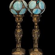 Fabulous Pair Art Nouveau/ Art Deco Figural Slag Glass Mantle/ Dresser Lamps