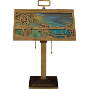 Fabulous & Rare Large Bradley & Hubbard Arts & Crafts Scenic Slag Glass Desk Lamp