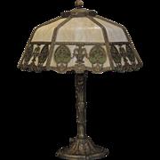 Enchanting Art Nouveau Obverse Painted Slag Glass Lamp