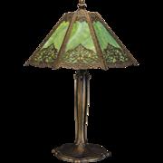 Large Gorgeous Maple Leaf Overlay Slag Glass Lamp
