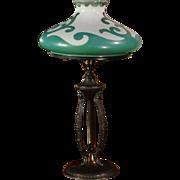Art Nouveau Desk Lamp w/ Fire Painted Shade