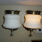 SALE Pair Gas Wall Sconces with Old Milk Glass Shades - Electrified