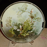 SALE R S Prussia Cake Plate adorned with leaves and acorns